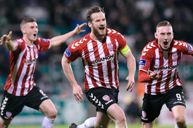 Ryan McBride celebrates scoring a a goal