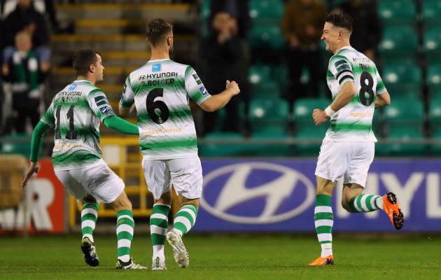 Ronan Finn celebrates scoring a goal