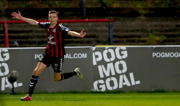Daniel Kelly celebrates scoring his side's second goal