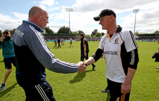 Pat Gilroy and Brian Cody at the end of the game