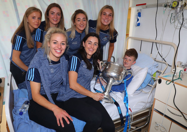 Members of the Dublin team with Thomas Curran