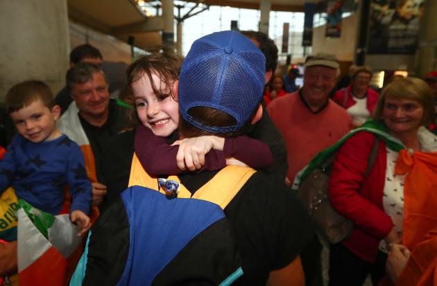 Gary O'Donovan is greeted by his cousin Ellen O'Donovan