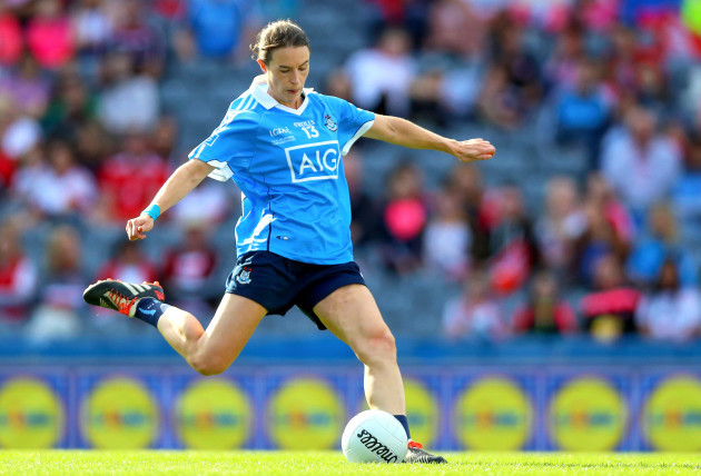Sinead Aherne scores a goal from a penalty