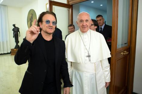 U2's Bono Vox meets pope Francis - Vatican