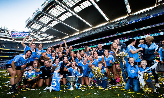 Dublin celebrate after the game with the trophy