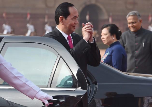 India: Ceremonial Reception Of Vietnamese President Tran Dai Quang At Rashtrapati Bhawan