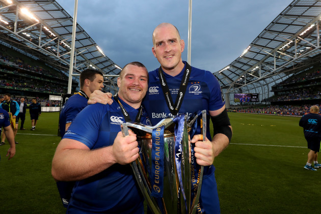 Leinster's Jack McGrath and Devin Toner after the match