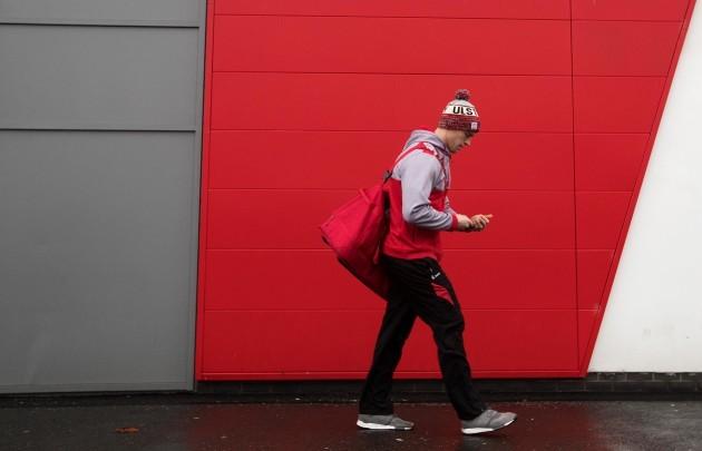 Andrew Trimble arrives