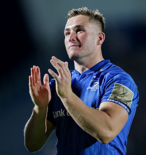 Jordan Larmour acknowledges the fans after the game