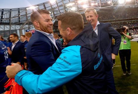Sean O'Brien, John Fogarty and head coach Leo Cullen celebrate