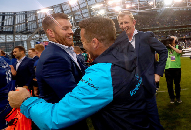 Sean O'Brien, John Fogarty and head coach Leo Cullen celebrate
