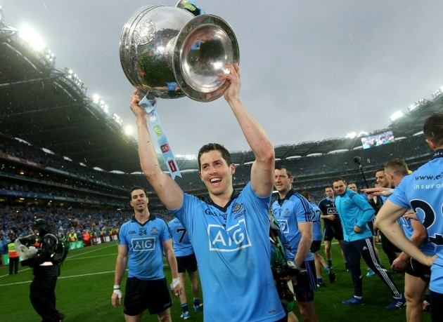 Rory O'Carroll celebrates with the Sam Maguire trophy