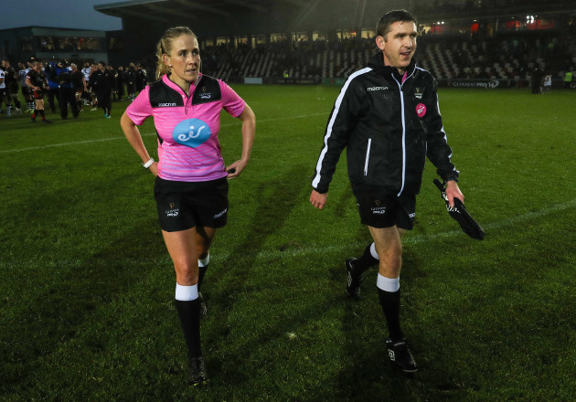 Referee Joy Neville with assistant referee George Clancy