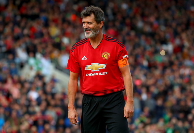 Roy Keane reacts after missing a penalty