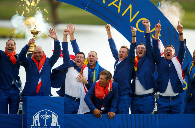 Team Europe captain Thomas Bjorn lifts the Ryder Cup