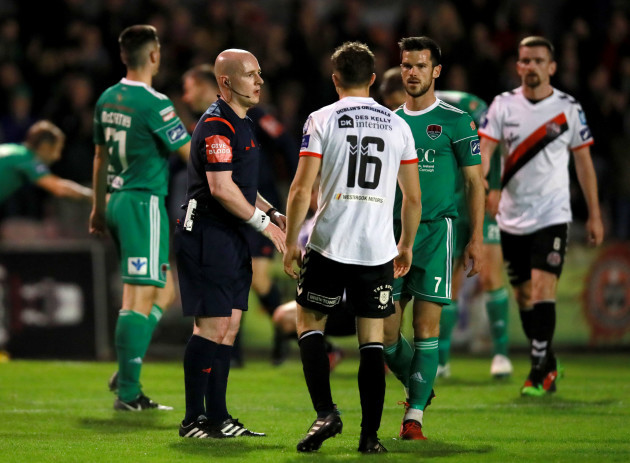 Keith Buckley Jimmy Keohane and Rob Rogers at the final whistle