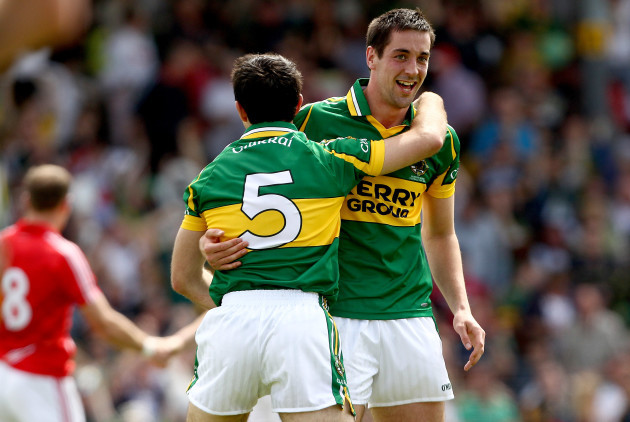 Aidan O'Mahony celebrates with Anthony Maher