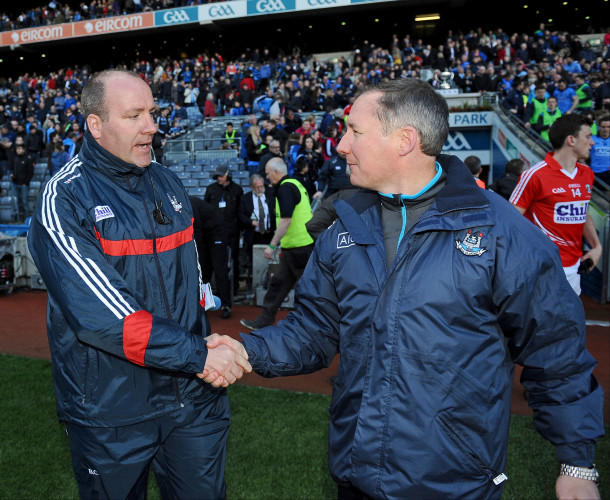 Brian Cuthbert and Jim Gavin shake hands after the game