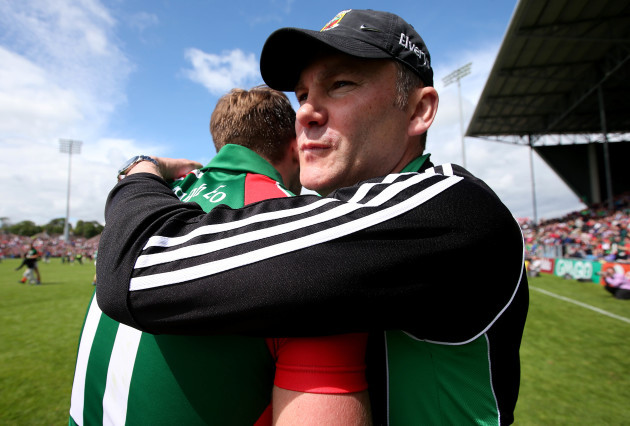 James Horan with Aidan O'Shea at the end of the game