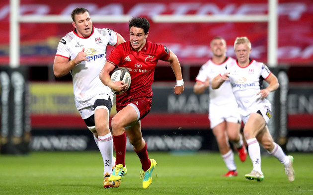 Joey Carbery breaks free on his way to scoring a try