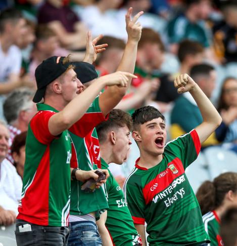 Mayo fans celebrate a goal