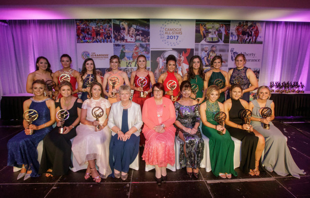 Soaring Stars Winners with Camogie Association CEO Joan O'Flynn, President of the Camogie Association Catherine Neary and Deirdre Ashe of Liberty Insurance