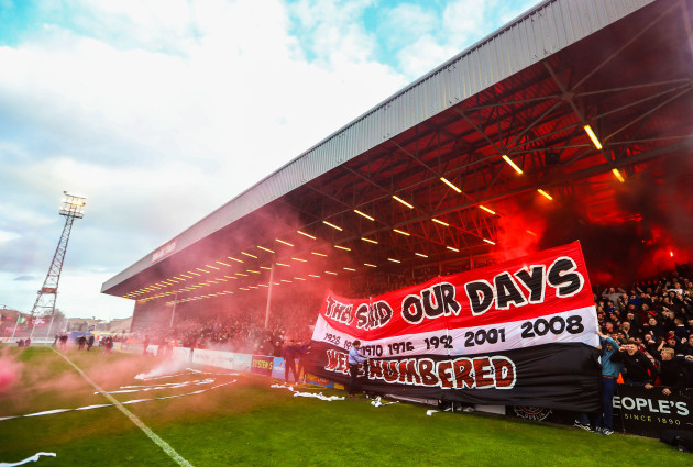 A view of a Bohemians banner