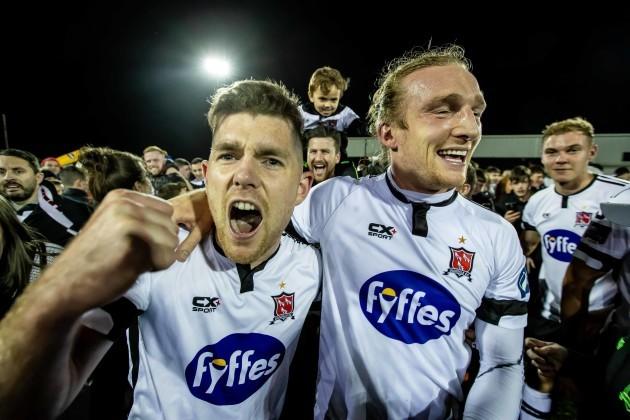 Ronan Murray and John Mountney celebrate winning the league