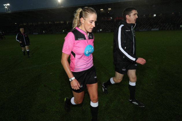 referee Joy Neville and assistant referee George Clancy