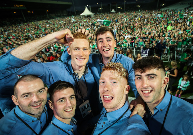 Players pose for a selfie taken by Cian Lynch
