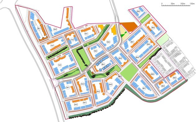 Kilcarbery Drawings - Orange for Social Housing, Blue for Private