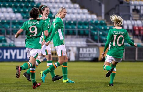 Stephanie Roche celebrates scoring a goal with Leanne Kiernan, Karen Duggan and Denise O'Sullivan