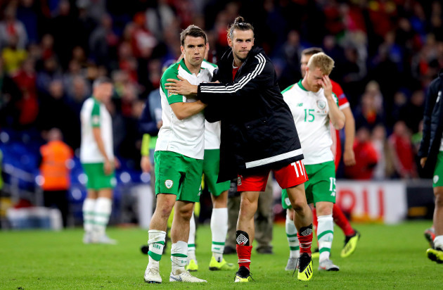 Seamus Coleman with Gareth Bale after the game
