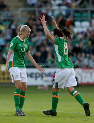 Stephanie Roche celebrates with Aine O'Gorman