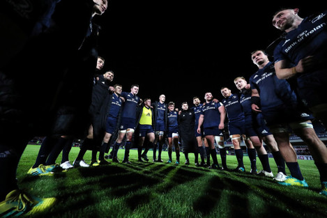 The Leinster team huddle after the game 12/10/2018