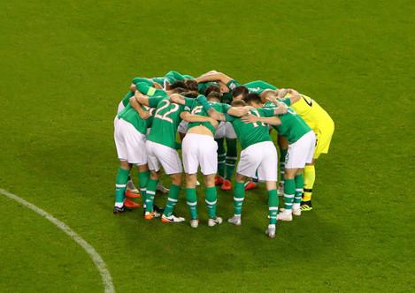 Ireland huddle before the game