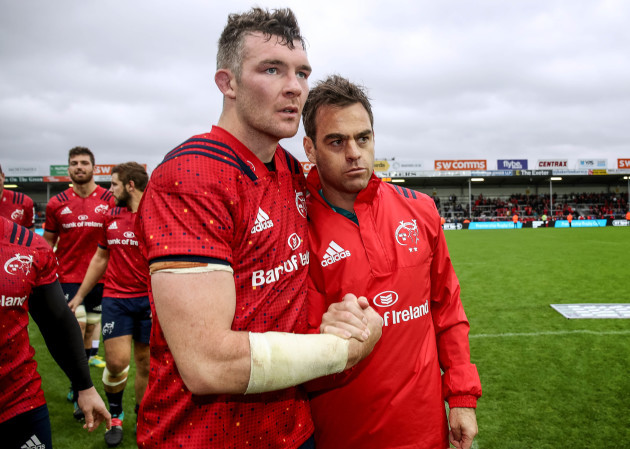 Johann van Graan and Peter O'Mahony after the game