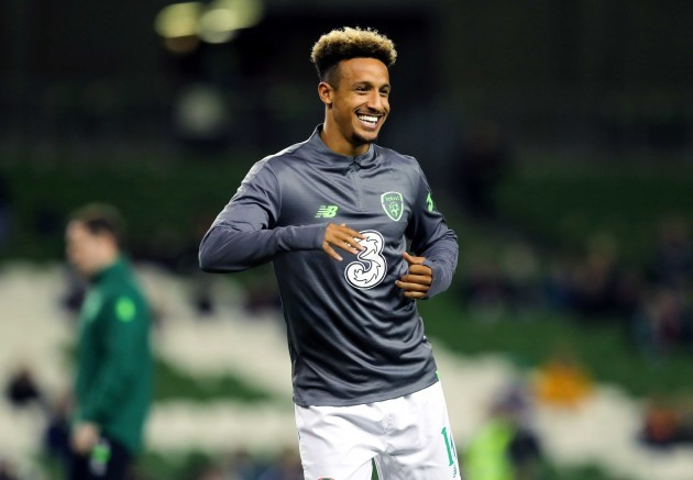 Callum Robinson during the warm up