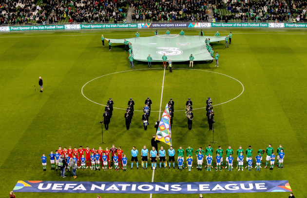 Ireland and Wales stand for the National Anthems