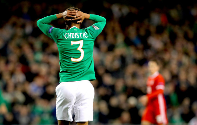 Cyrus Christie reacts to a missed chance