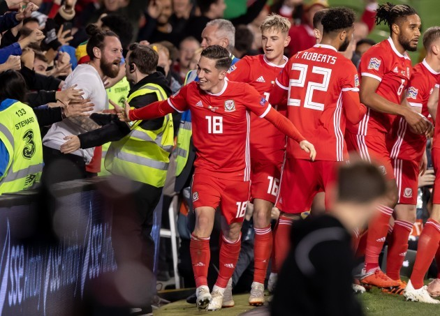 Harry Wilson celebrates scoring with fans