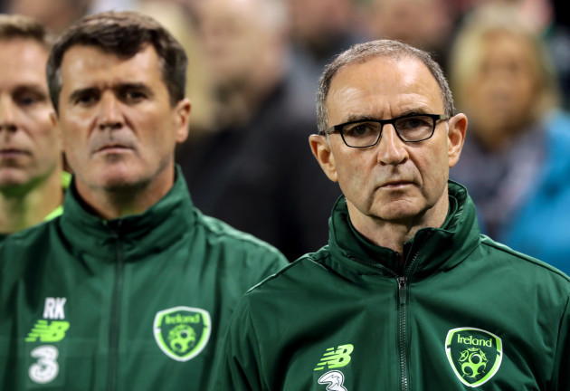 Martin O'Neill during the National Anthems