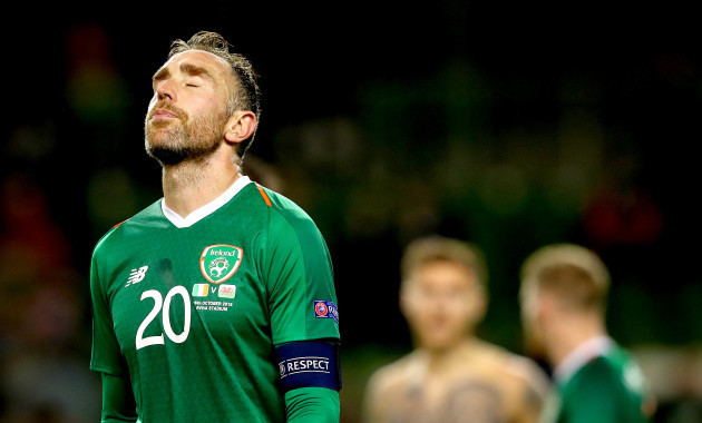 Richard Keogh dejected after the game