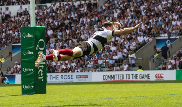 Barbarians Chris Ashton scores a try