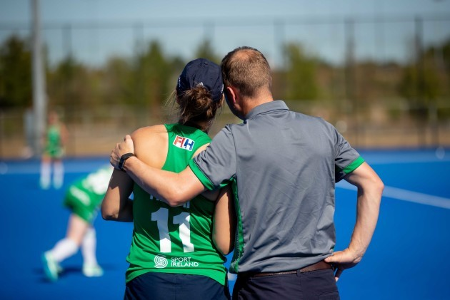 Graham Shaw comforts Megan Frazer before the game