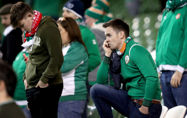 Ireland fans dejected after the game