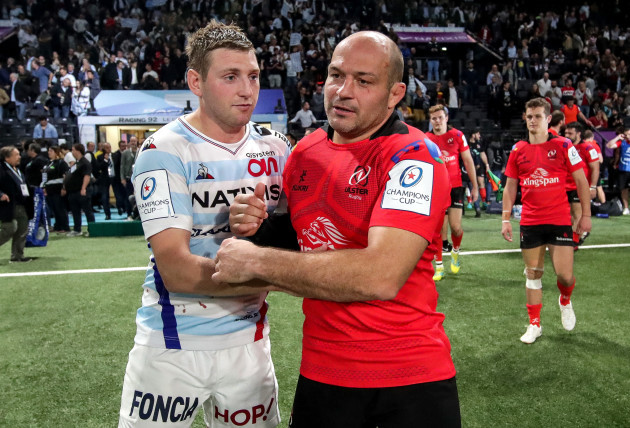 Finn Russell with Rory Best after the game