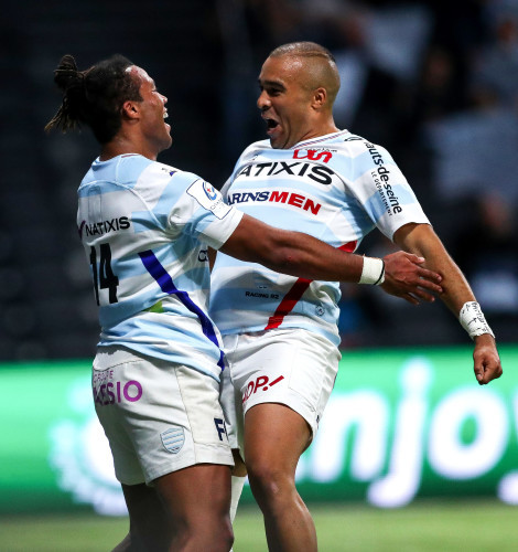 Teddy Thomas celebrates scoring a try with Simon Zebo