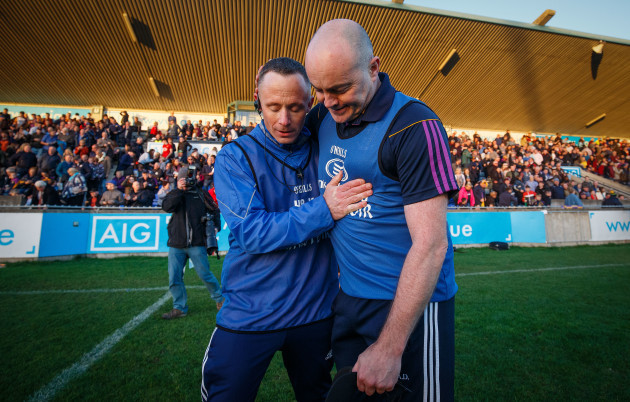 Joe Fortune embraces Anthony Daly after a draw