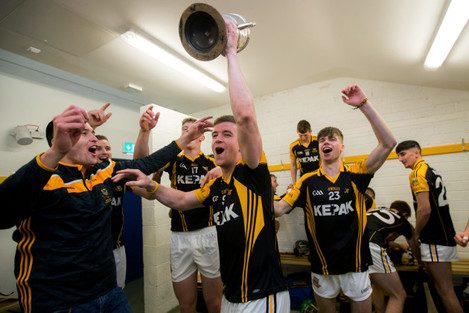 Tony Kelly celebrates after the game with Brandon O'Carroll and Sean Meaney